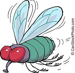 cartone animato, verde, mosca