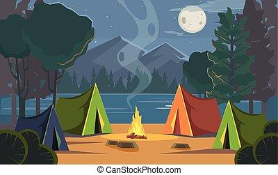 cartone animato, vettore, campeggio, appartamento