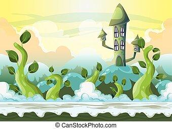 cartone animato, vettore, cielo, paesaggio, con, separato, livelli