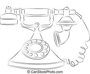 cartone animato, vettore, contorno, illustrazione, tintinnio telefono