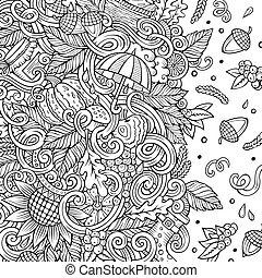 cartone animato, vettore, doodles, autunno, frame., art linea, con, lotti, di, oggetti, illustrazione