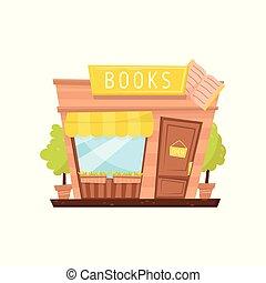 cartone animato, vettore, icona, di, negozio libro, facade., costruzione, con, cartello, porta legno, grande, finestra, tenda, e, decorativo, piante, in, otri