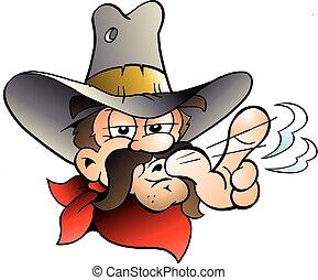 cartone animato, vettore, illustrazione, di, un, cowboy