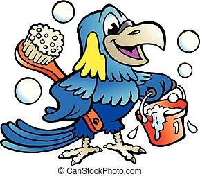 cartone animato, vettore, illustrazione, di, un, felice, pappagallo, pulitore