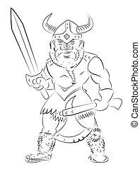 cartone animato, viking, immagine, guerriero
