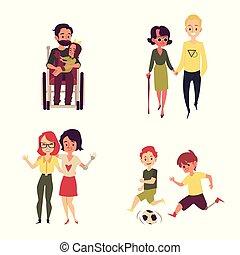 cartone animato, vivente, persone, ragazzo, uomo, vita, presa a terra, incapacità, gioco, bambino, calcio, -, amico, ragazza, pieno, carrozzella, camminare, suo