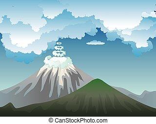 cartone animato, vulcano, isola