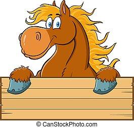 cartone animato, vuoto, marrone, segno, legno, cavallo, carattere, sopra