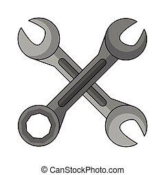cartone animato, wrenches, attraversato, isolato, icona