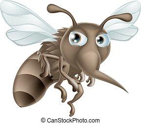 Cartone animato zanzara grigio divertente immagine