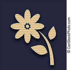 cartone, carta, fatto mano, fondo, fiore
