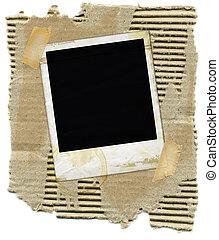 cartone, con, polaroid