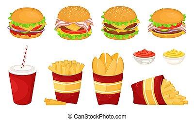 cartone, hamburger, vettore, illustrazione, digiuno, francese, rifiuto, cibo., differente, cup., delizioso, cotoletta, set, salsa, frigge, soda