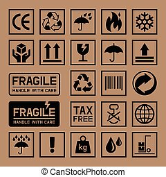 cartone, icons., scatola, cartone