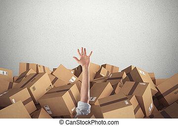 cartone, interpretazione, boxes., uomo, pila, sepolto, 3d