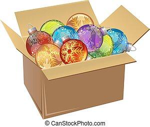 cartone, isolated., illustrazione, palle, natale, pieno, vettore, scatola