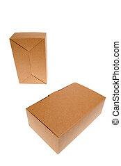 cartone, isolato, marrone, white., scatola