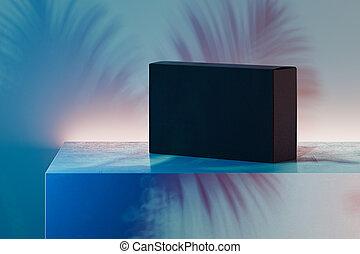 cartone, nero, realistico, multicolore, fondo., scatola, rendering., 3d