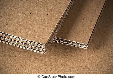 cartone ondulato, lato, fogli, vista