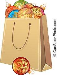 cartone, pacchetto, pieno, natale, balls., vetro