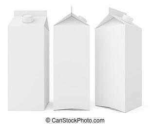 cartones de la leche, aislado, blanco, fondo., 3d, render
