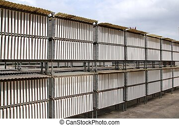 cartongesso, industriale, produzione, essiccamento, esterno