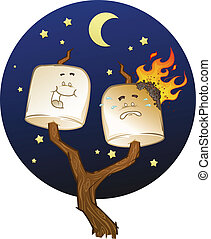 cartoni animati, marshmallow, arrostito
