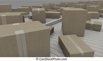 A lot of different cartons moving on conveyors. 4K seamless loopable video. Pro Res codec