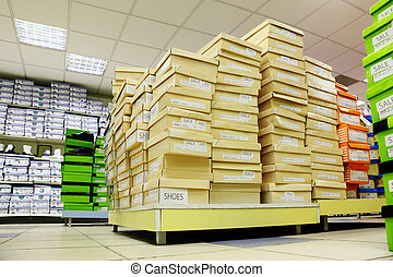 cartons, chaussures, grand, filles, jaune, grand, garçons, vert, assortiment, magasin, enfants