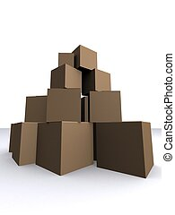 cartons - 3d rendered illustration of some stacked cartons
