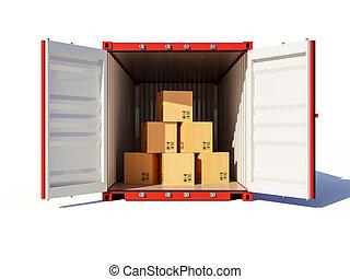cartons, ouvert, récipient, cargaison