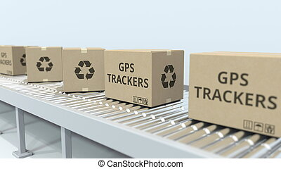 Cartons with GPS trackers on roller conveyor. 3D rendering