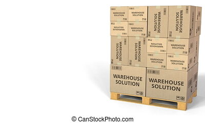 Cartons with WAREHOUSE SOLUTION inscription. Conceptual 3D animation