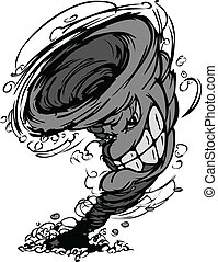 cartoo, wektor, maskotka, burza, cyklon