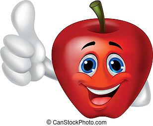 cartoon, æble, oppe, tommelfinger