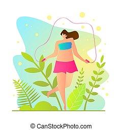 cartoon., イラスト, ロープ, ベクトル, 女の子, 跳躍