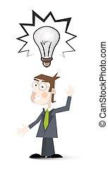 cartoon., 大きい, シンボル, 考え, 隔離された, バックグラウンド。, スーツ, 電球, 白, 人