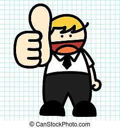 cartoon., 拖拉, 人, 商业, 手