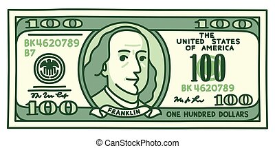 Cartoon hand drawn 100 with stylized Franklin portrait. Play money or fake vector illustration.