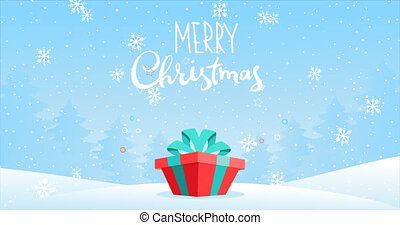 Cartoon 2D footage for Christmas and New Year. Bouncing magic gift box with a present in the snowy forest. Festive winter animation, falling snow, snowflakes. Merry Christmas text