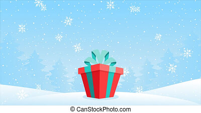 Cartoon 2D footage with a present for Christmas and New Year. Gift box in a snowy forest, looping cartoon animation. Festive winter background, falling snow, snowflakes, copy space