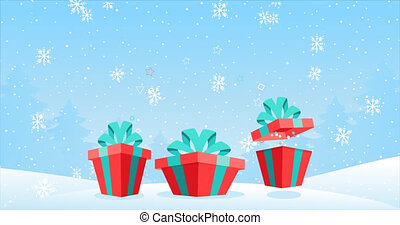 Cartoon 2D frames for Christmas and New Year. Three bouncing magic gift boxes with gifts in a snowy forest. Festive winter animation, falling snow, snowflakes. Merry Christmas text