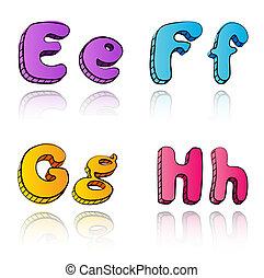 Cartoon 3d alphabet letters- EFGH