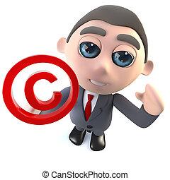 Cartoon 3d businessman character holding a copyright symbol