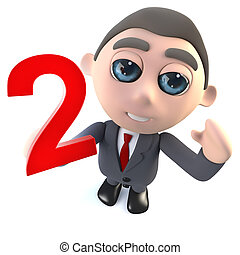 Cartoon 3d businessman holding the number two