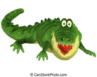 Cartoon 3d crocodile - 3d illustration isolated on the white...