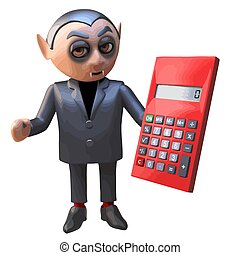 Cartoon 3d Halloween vampire dracula holding a digital calculator, 3d illustration