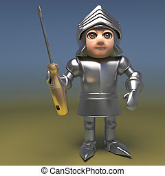 Cartoon 3d medieval knight in full plate armour holding a golden screwdriver, 3d illustration