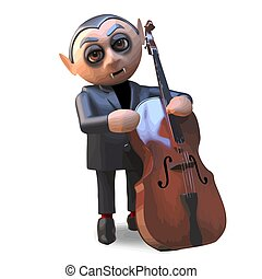 Cartoon 3d musical Halloween vampire dracula playing the double bass, 3d illustration