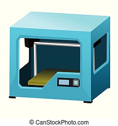 Cartoon 3d printer isolated on white background closeup. Vector illustration.